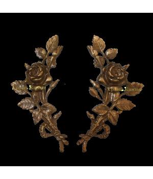 Комплект Роза латунная Н18 правая + левая (один бутон)