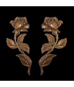 Комплект Роза латунная Н25 правая + левая (один бутон)