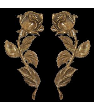 Комплект Роза латунная Н32 правая + левая (один бутон)
